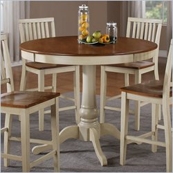Steve Silver Company Candice Round Counter Height Dining Table in Oak and Off-White
