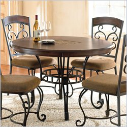 Steve Silver Company Greco Round Dining Table in Black Metal and Cherry Wood