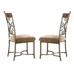 Steve Silver Company Thompson Dining Chair in Metal and Cherry Finish