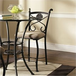 Steve Silver Company Brookfield  Light Brown Upholstery Counter Dining Chair in Dark Metal