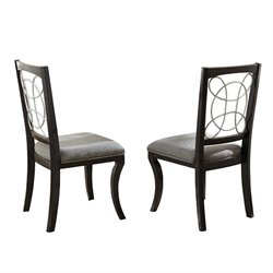 Steve Silver Company Cayman Grey Upholstery Dining Chair in Black Finish