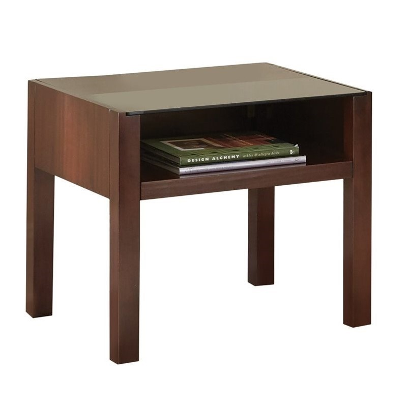 Steve Silver Company Lamar Modern Glass Top End Table in Cherry Finish
