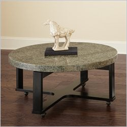Steve Silver Company Gabriel Green Granite Top Cocktail Table with Multi-Step Black Base
