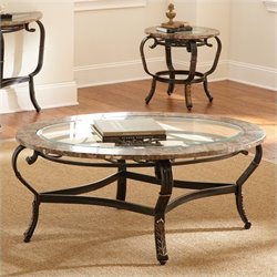 Steve Silver Company Gallinari Brown Marble Veneer Round Glass Cocktail Table