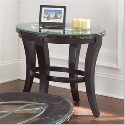 Steve Silver Company Cayman Black and White Marble with Glass End Table in Antiqued Brown