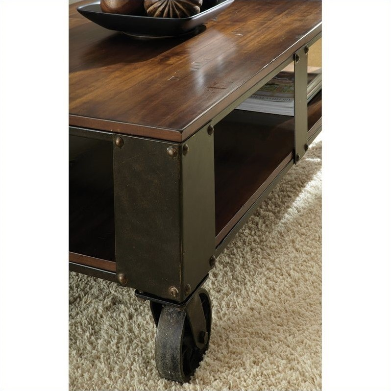 Steve Silver Company Barrett Cocktail Table in Distressed Tobacco and Antiqued Metal