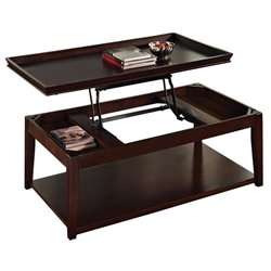 Steve Silver Company Clemson Lift Top Cocktail Table with Casters in Multi-Step Cherry