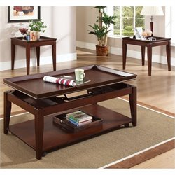 Steve Silver Company Clemens 3 Piece Cocktail Table Set in Cherry