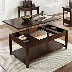 Steve Silver Company Crestline Cocktail Table in Distressed Walnut