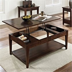 Steve Silver Company Crestline Lift Top Cocktail Table with Casters in Distressed Walnut