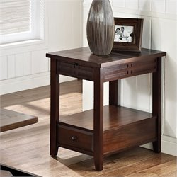 Steve Silver Company Crestline Chairside End Table in Distressed Walnut
