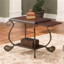 Steve Silver Company Rosemont Chairside End Table in Multi-Step Cherry