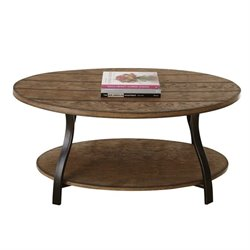 Steve Silver Company Denise Oval Cocktail Table in Light Oak Finish