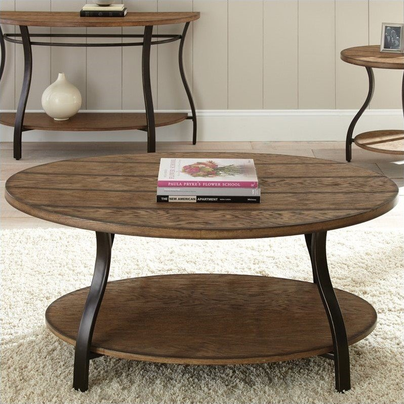 Denise Oval Cocktail Table in Light Oak Finish