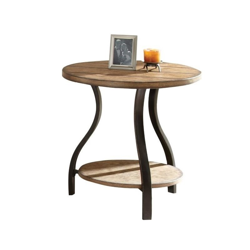 Steve Silver Company Denise Round End Table In Light Oak