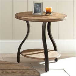 Steve Silver Company Denise Round End Table in Light Oak Finish