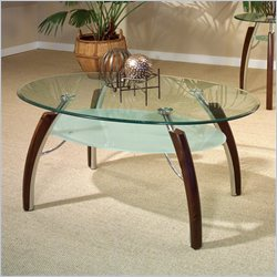 Steve Silver Company Atlantis Glass Top Cocktail Table in Multi-Step Cherry