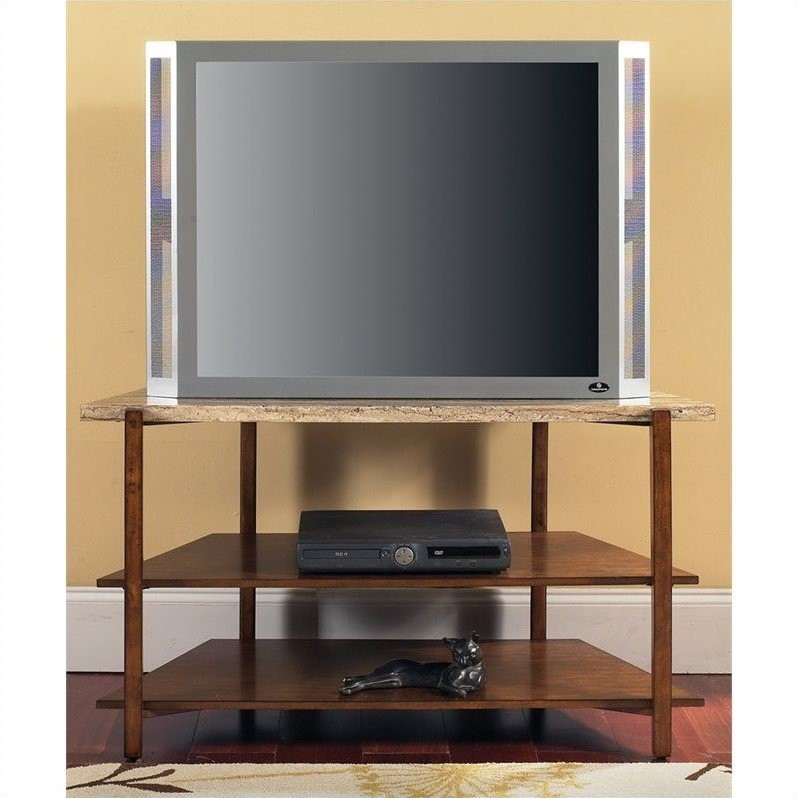 Tivoli Faux Marble Top TV Stand in Multi-Step Cherry