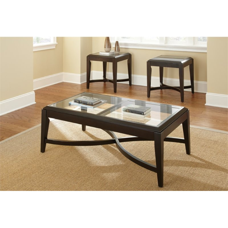 Mayfield 3 Pack Glass Top Cocktail and End Tables Set in Dark Pine