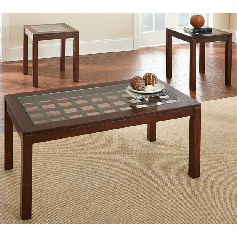 Dixon 3 Pack Glass Top Cocktail and End Tables Set in Cherry