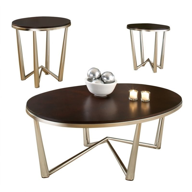 Steve Silver Company Cosmo 3 Piece Modern Cocktail and End Table Set in Dark Cherry