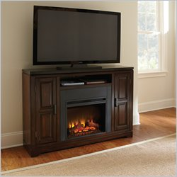 Steve Silver Company Chamberlain Black Granite Media Fireplace Set in Classic Espresso