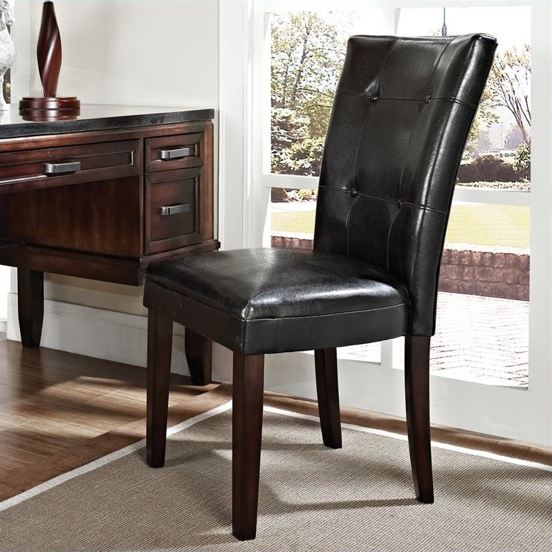 Steve Silver Company Chamberlain Parsons Dining Chair with Black Vinyl Upholstery