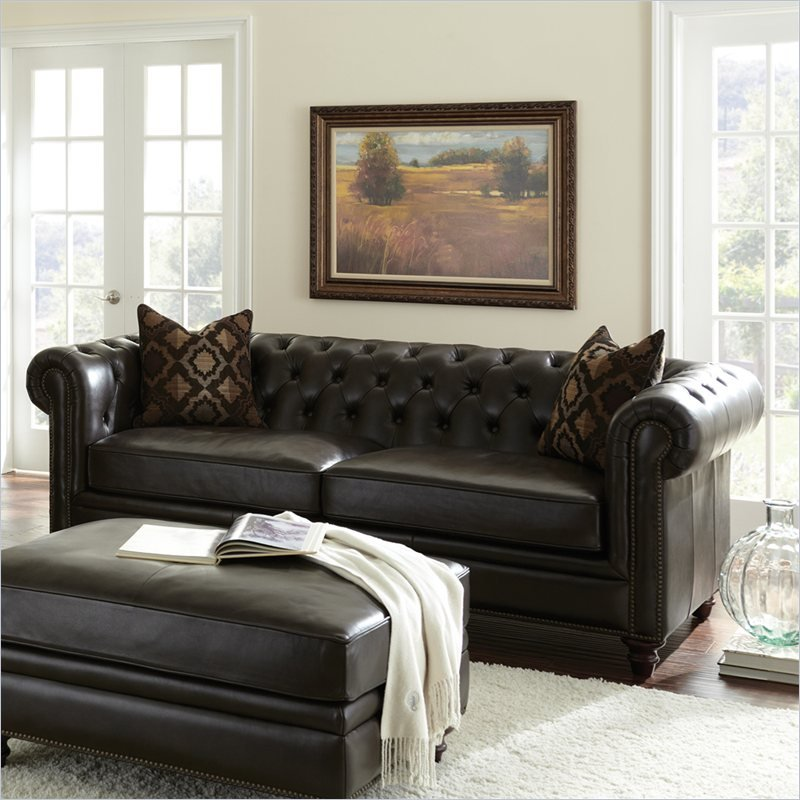 Leather Sofa For Accent Pillows: Tusconny Leather Sofa In Arkon Bark With Two Accent