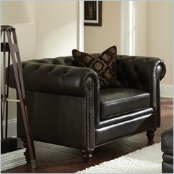 Steve Silver Company Tusconny Leather Chair in Arkon Bark with One Accent Pillows