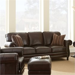 Steve Silver Company Chateau Leather Sofa in Antique Chocolate Brown