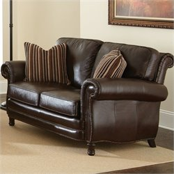 Steve Silver Company Chateau Leather Loveseat in Antique Chocolate Brown