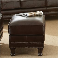 Steve Silver Company Chateau Leather Ottoman in Antique Chocolate Brown