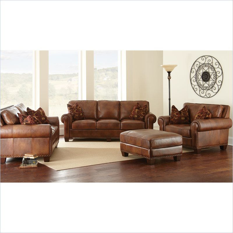 Silverado 4 piece leather sofa set in caramel brown for Sofa company