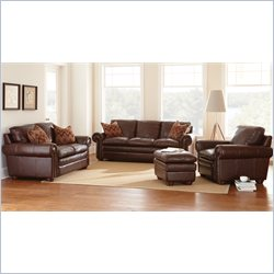 Steve Silver Company Yosemite 4 Piece Leather Sofa Set in Chestnut
