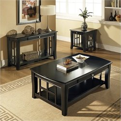 Steve Silver Company Cassidy 3 Piece Cocktail Table Set in Black
