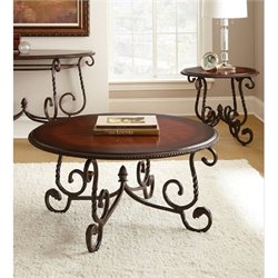 Steve Silver Company Crowley 3 Piece Coffee Table Set in Cherry