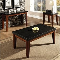Steve Silver Company Montibello Rectangular  3 Piece Coffee Table Set in Cherry