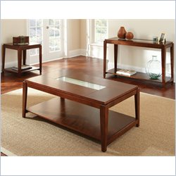 Steve Silver Company Ice 3 Piece Coffee Table Set in Cherry