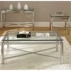 Steve Silver Company Nova 3 Piece Cocktail Table Set in Chrome