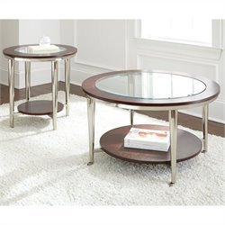 Steve Silver Company Norton 3 Piece Round Cocktail Table Set in Cherry