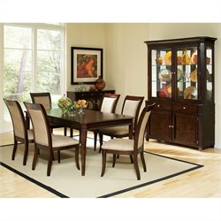 Steve Silver Company Marseille 7 Piece Dining Table Set in Dark Cherry