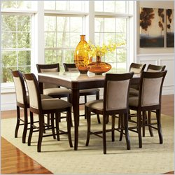 Steve Silver Company Marseille 7 Piece Marble Top Counter Dining Table Set in Dark Cherry