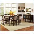 Steve Silver Company Marseille 9 Piece Marble Top Counter Dining Table Set in Dark Cherry