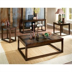 Steve Silver Company Alberto 3 Piece Cocktail Table Set in Cherry Finish