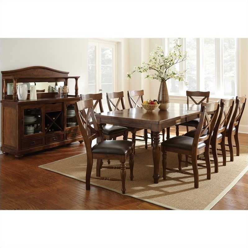 Steve Silver Company Wyndham 5 Piece Dining Table Set in Distressed Tobacco