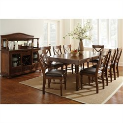 Steve Silver Company Wyndham 9 Piece Dining Table Set in Distressed Tobacco