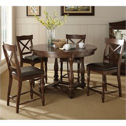 Steve Silver Company Wyndham 5 Piece Counter Dining Table Set in Distressed Tobacco