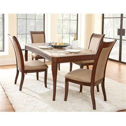 Steve Silver Company Marseille 7 Piece Marble Top Dining Table Set in Dark Cherry
