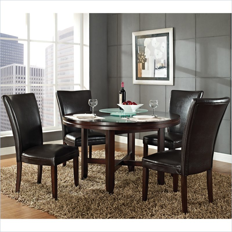Steve Silver Company Hartford 5 Piece 52 Inch Round Dining Table Set in Dark Cherry
