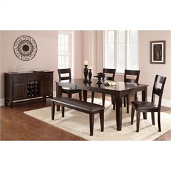 Steve Silver Company Victoria 5 Piece Rectangular Dining Table Set in Mango
